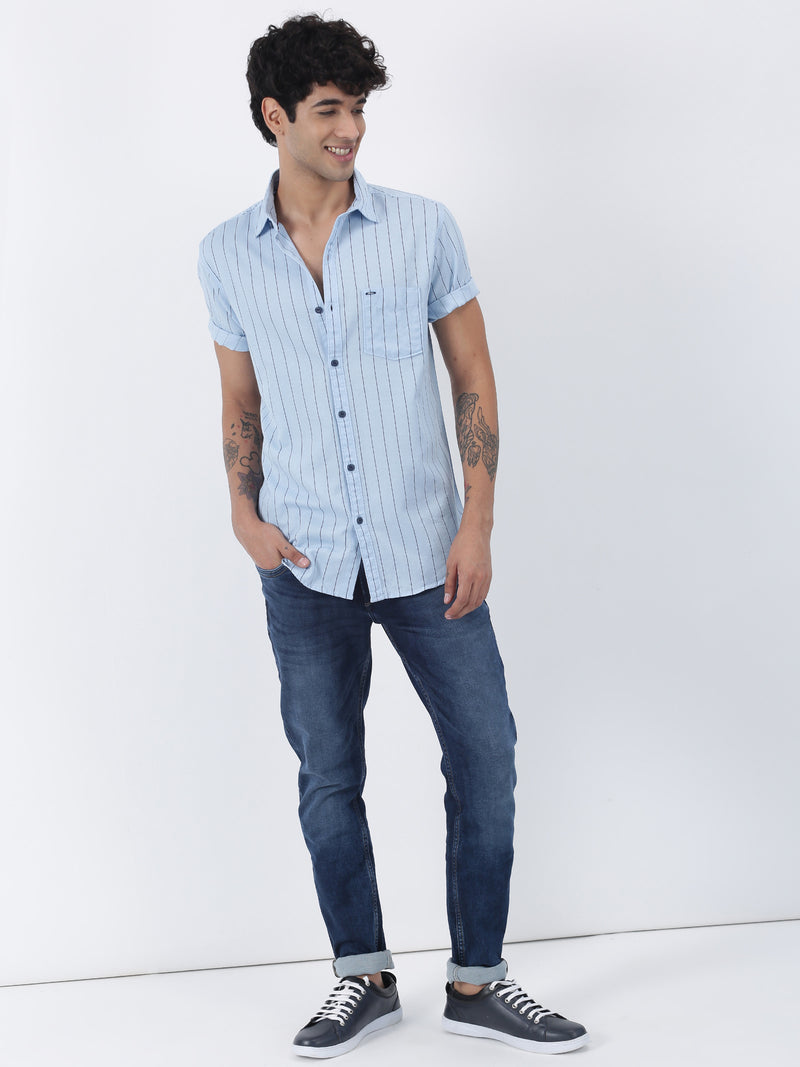 Blue Striped Short Sleeve Casual Shirt