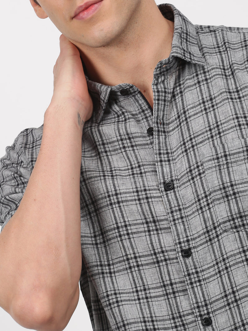 Grey Checked Short Sleeve Casual Shirt