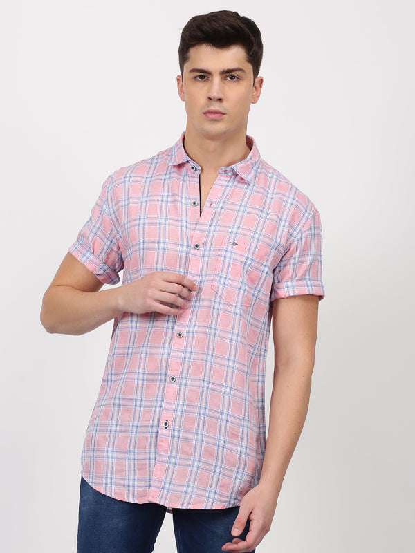 Pink Checked Short Sleeve Casual Shirt