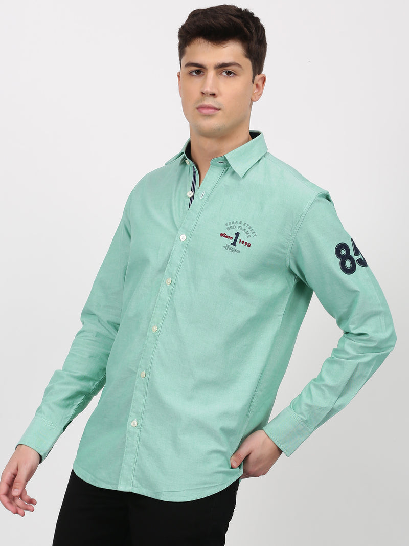 Green Plain Long Sleeve Street Wear Shirt