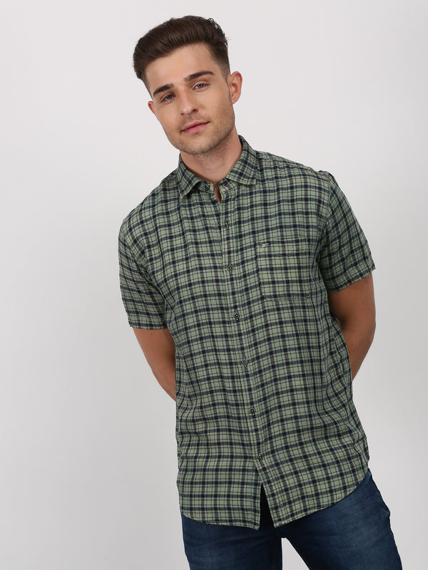 Green Checked Short Sleeve Casual Shirt