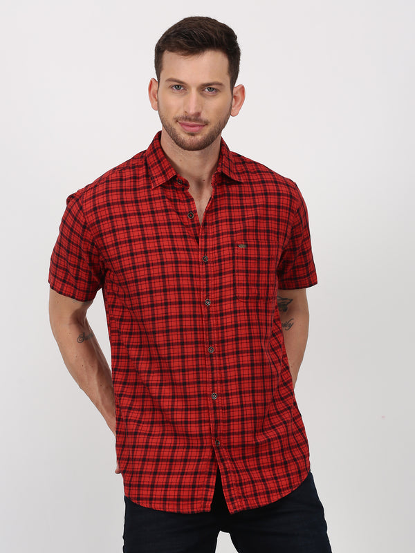 Red Checked Short Sleeve Casual Shirt