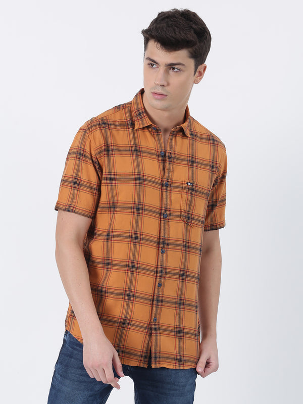 Gold Checked Short Sleeve Casual Shirt