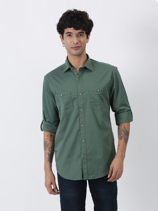 Olive Plain Long Sleeve Casual Shirt
