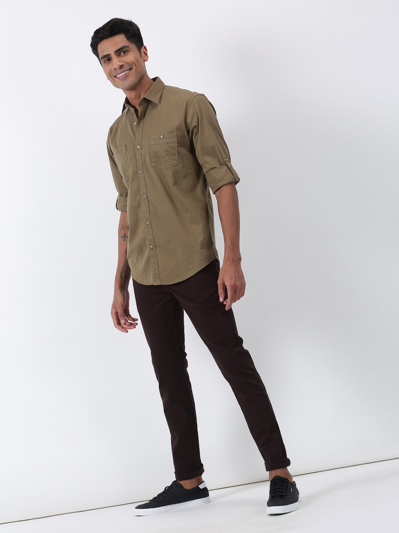 Khaki Plain Long Sleeve Casual Shirt