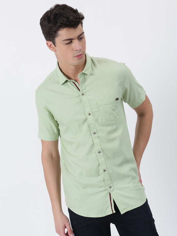 Green Plain Short Sleeve Casual Shirt