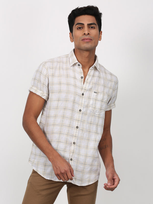 Cream Checked Short Sleeve Casual Shirt