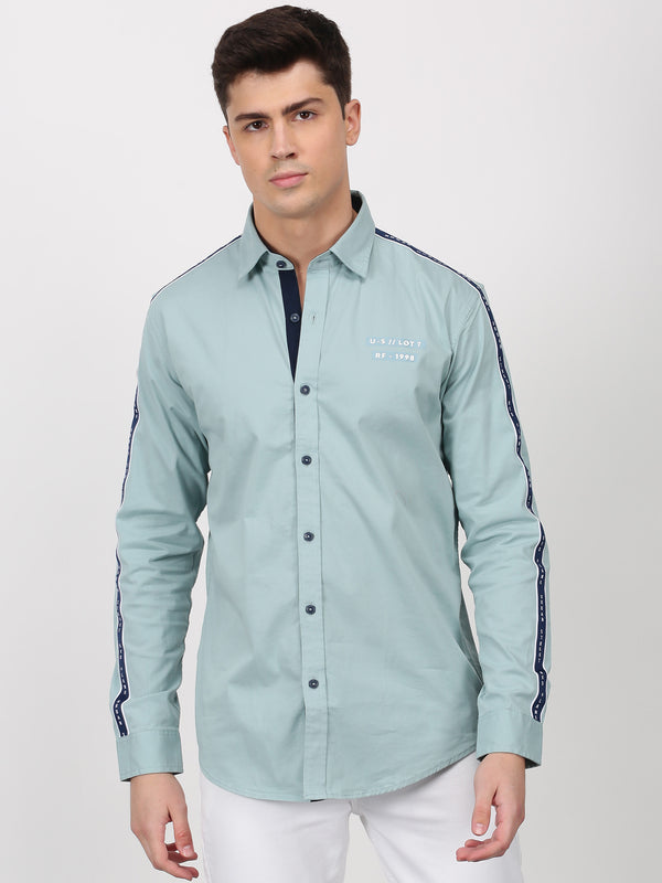 Sea Green Plain Long Sleeve Street Wear Shirt