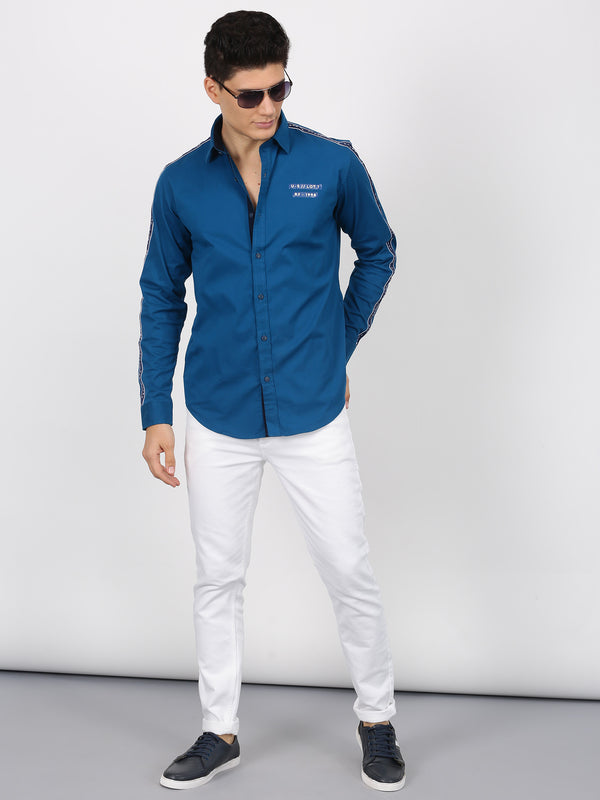 Teal Blue Plain Long Sleeve Street Wear Shirt