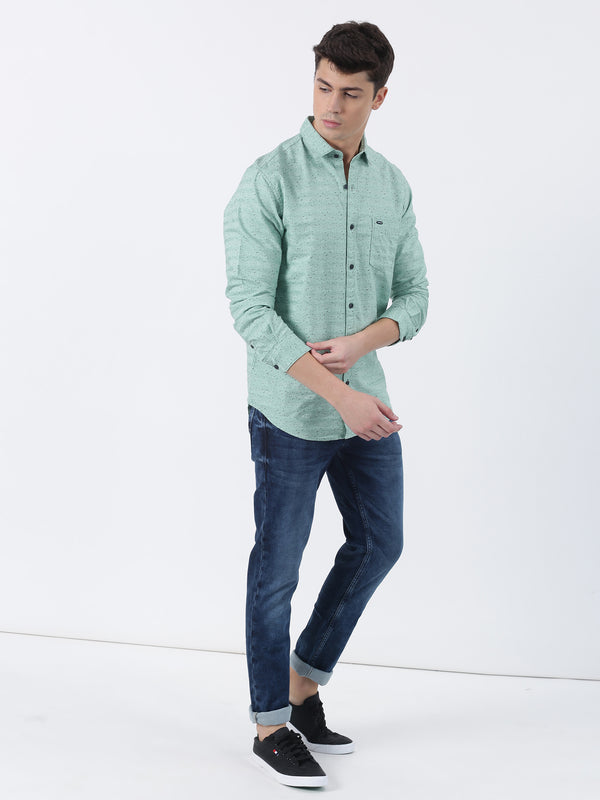 Green Printed Long Sleeve Casual Shirt