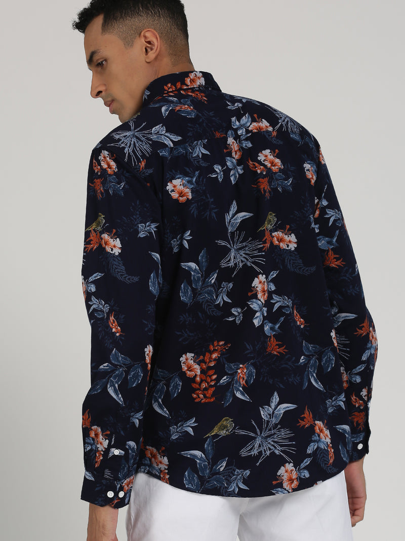 Navy Printed Long Sleeve Casual Shirt