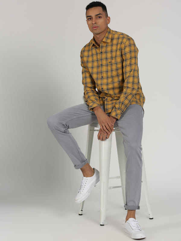 Yellow Checked Long Sleeve Casual Shirt