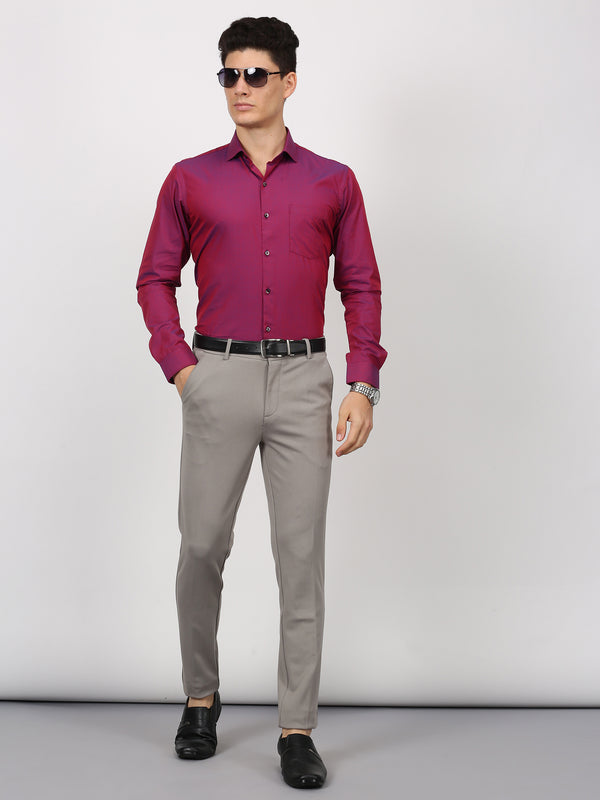 Maroon Plain Long Sleeve Formal Shirt