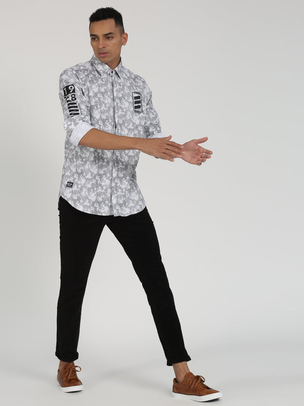 Black Printed Long Sleeve Street Wear Shirt