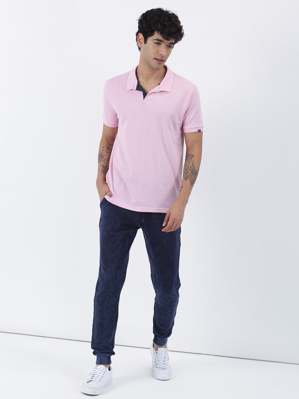 Pink Plain Short Sleeve Casual T-Shirt