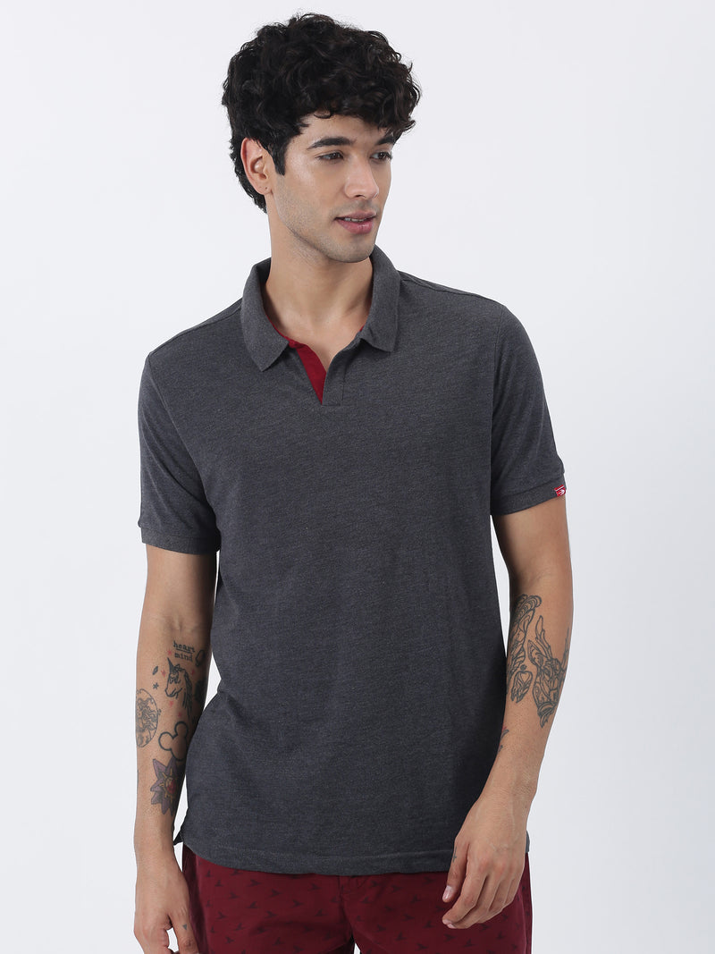 Anthra Melange Plain Short Sleeve Casual T-Shirt