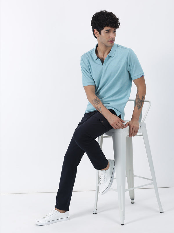 Aqua Melange Plain Short Sleeve Casual T-Shirt