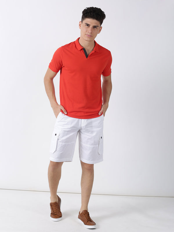 Tomato Red Plain Short Sleeve Casual T-Shirt