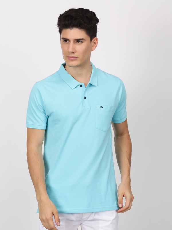 Sky Blue Plain Short Sleeve Casual T-Shirt