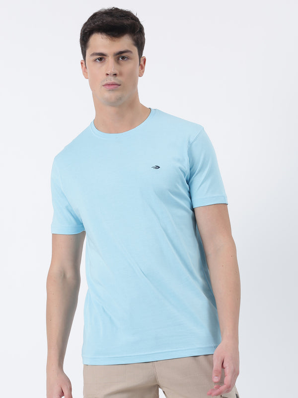 Aqua Blue Plain Short Sleeve Casual T-Shirt