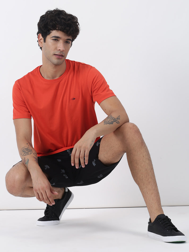 Rust Plain Short Sleeve Casual T-Shirt