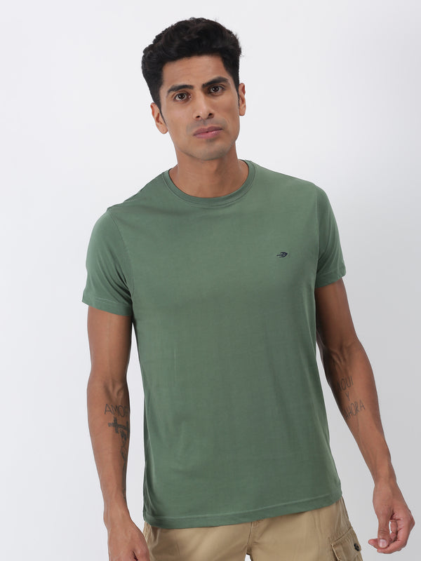 Army Green Plain Short Sleeve Casual T-Shirt