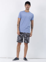 Blue Melange Plain Short Sleeve Casual T-Shirt