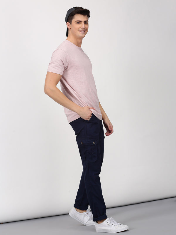 Pink Melange Plain Short Sleeve Casual T-Shirt