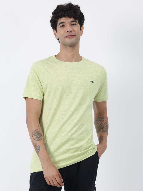 Lemon Melange Plain Short Sleeve Casual T-Shirt