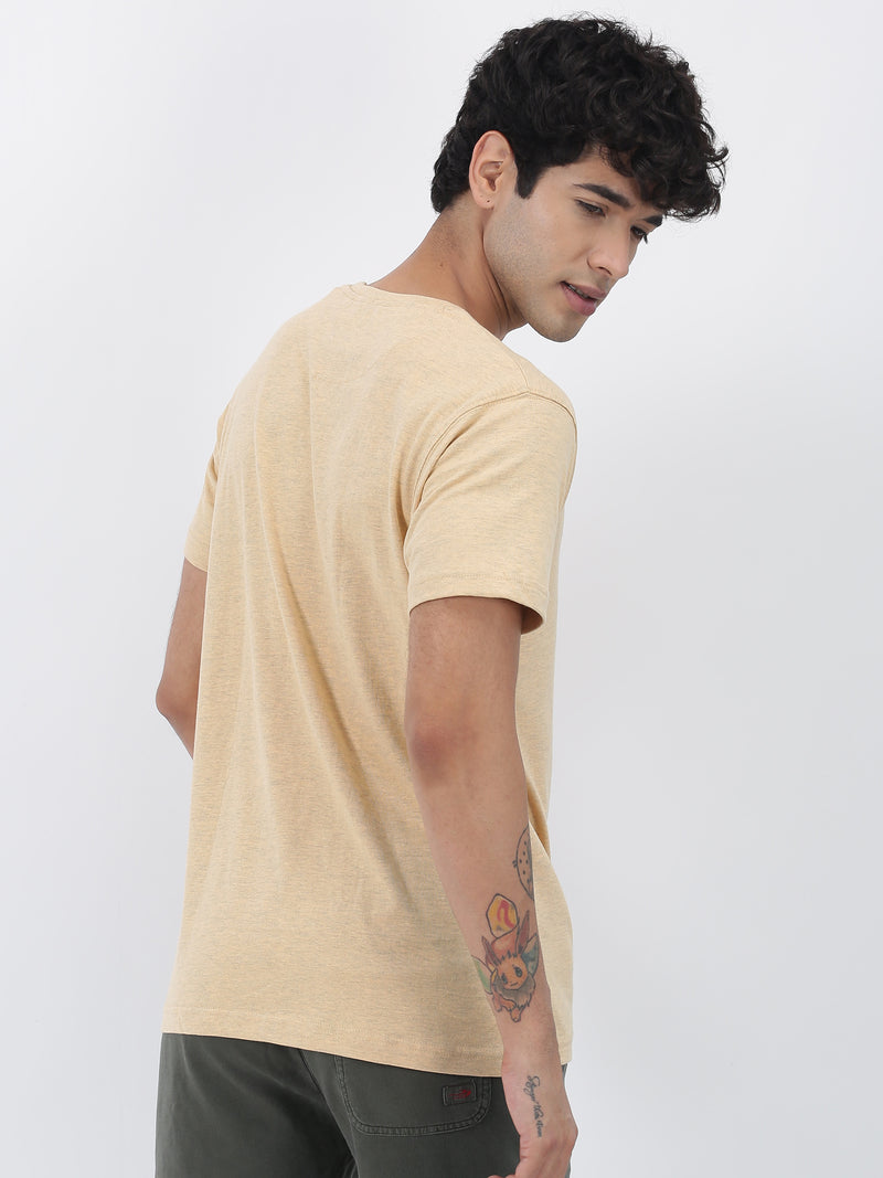 Peach Melange Plain Short Sleeve Casual T-Shirt