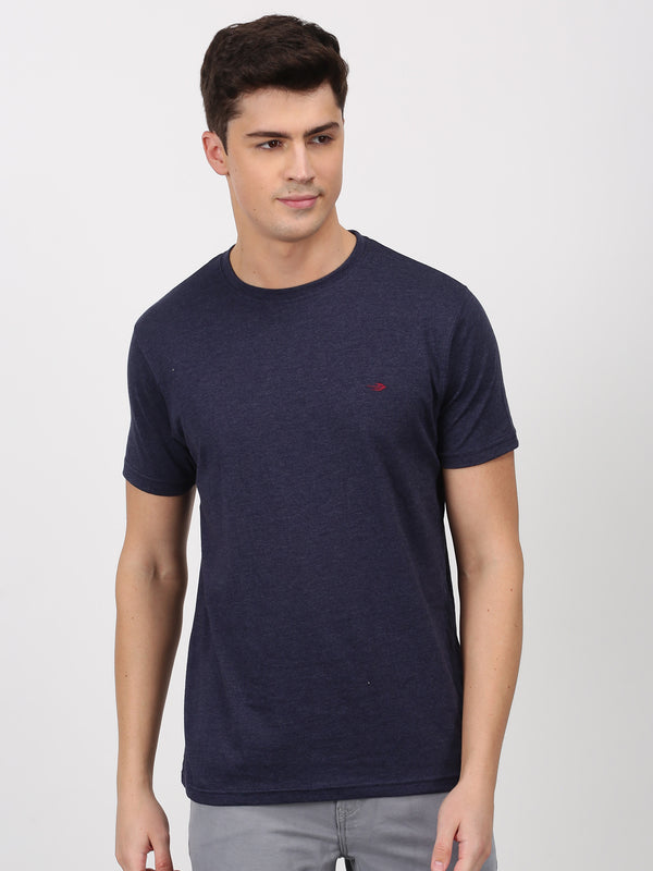 Navy Milange Plain Short Sleeve Casual T-Shirt