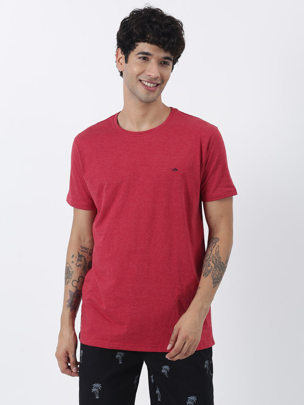 Maroon Melange Plain Short Sleeve Casual T-Shirt