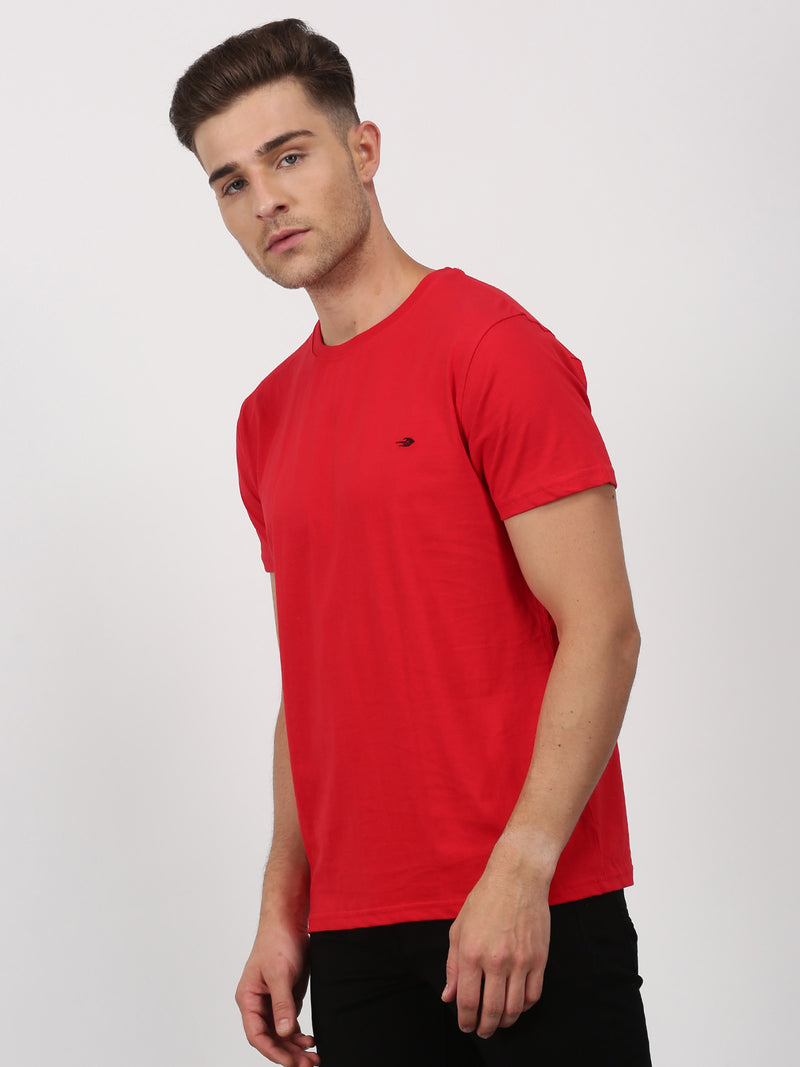 Red Plain Short Sleeve Casual T-Shirt