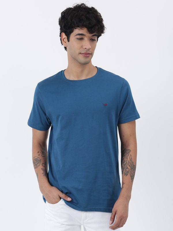 Teal Blue Plain Short Sleeve Casual T-Shirt