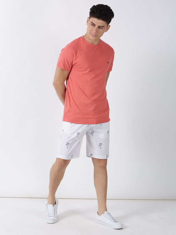 Coral Melange Plain Short Sleeve Casual T-Shirt