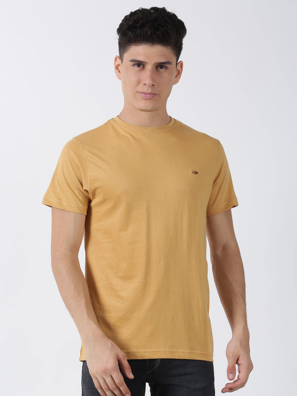 Khaki Plain Short Sleeve Casual T-Shirt