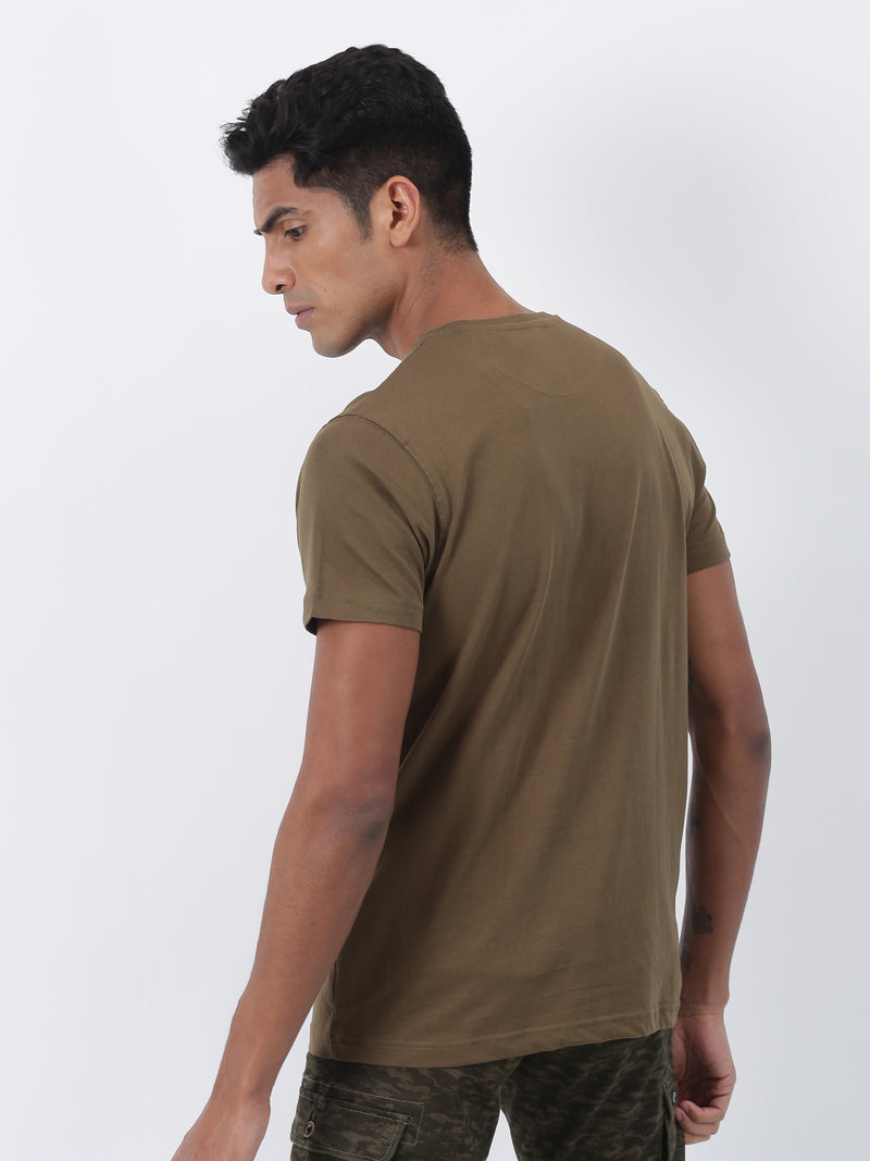 Olive Plain Short Sleeve Casual T-Shirt