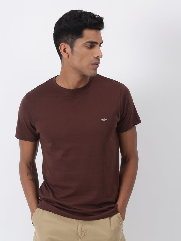 Brown Plain Short Sleeve Casual T-Shirt