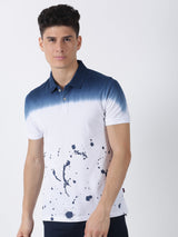 Navy Printed Short Sleeve Casual T-Shirt