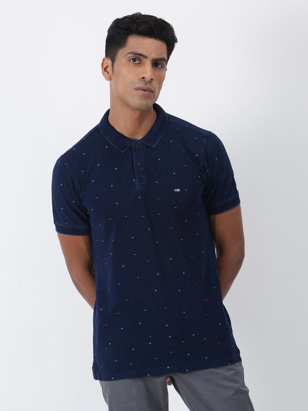Indigo Denim Printed  Casual T-Shirt