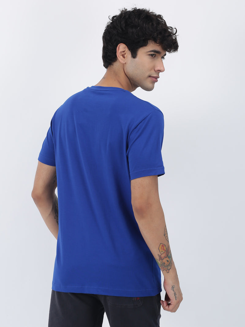 Royal Blue Plain Short Sleeve Casual T-Shirt