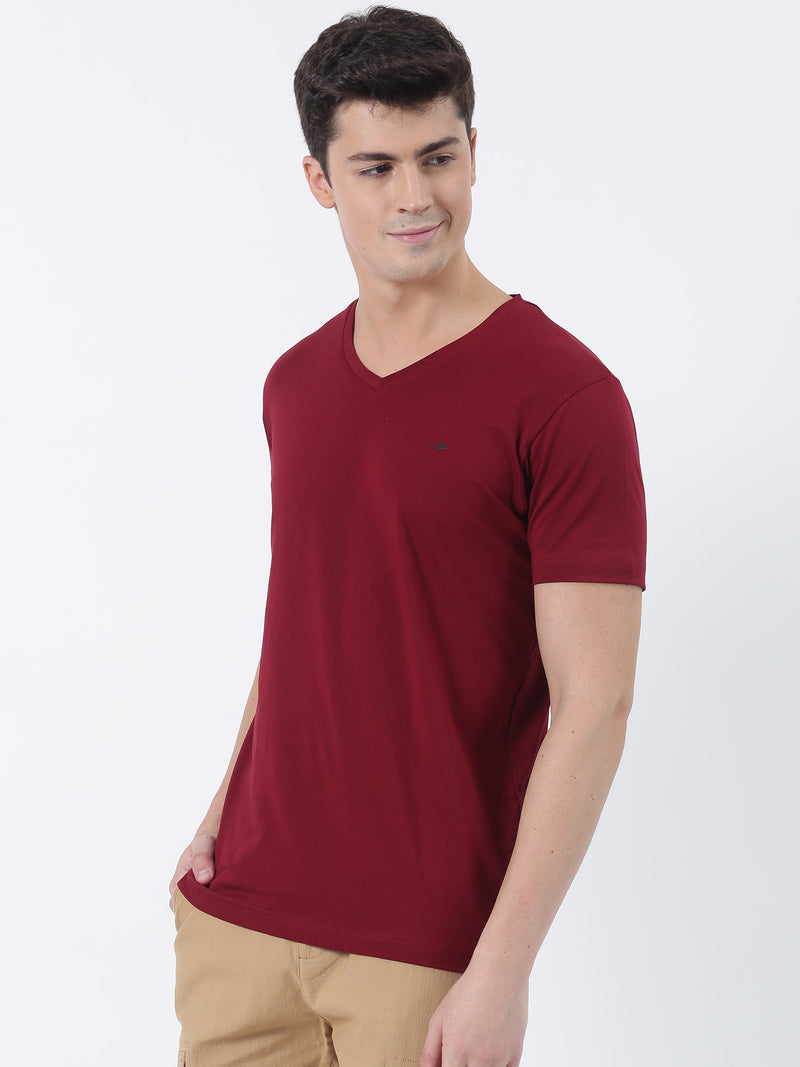 Maroon Plain Short Sleeve Casual T-Shirt