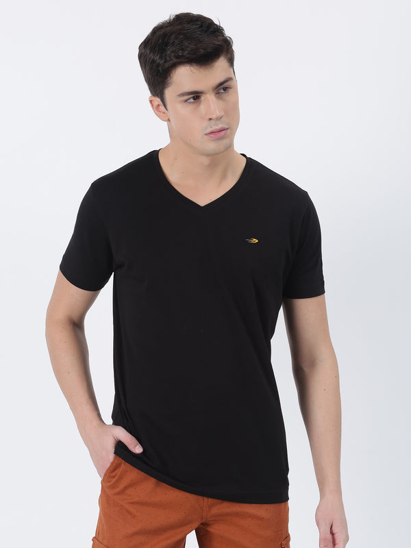 Black Plain Short Sleeve Casual T-Shirt