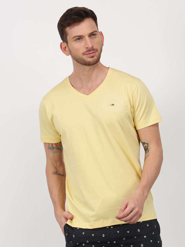 Cream Plain Short Sleeve Casual T-Shirt