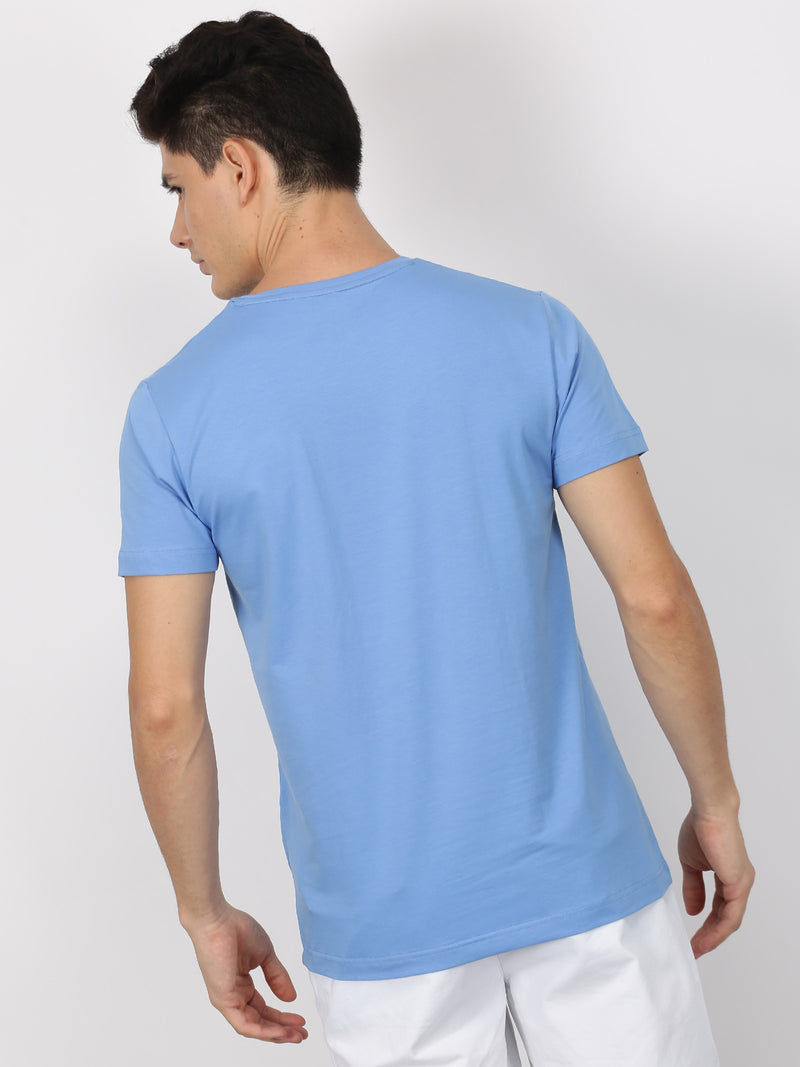 Blue Plain Short Sleeve Casual T-Shirt