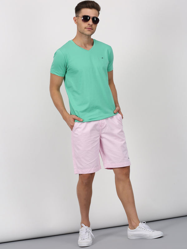 Sea Green Plain Short Sleeve Casual T-Shirt