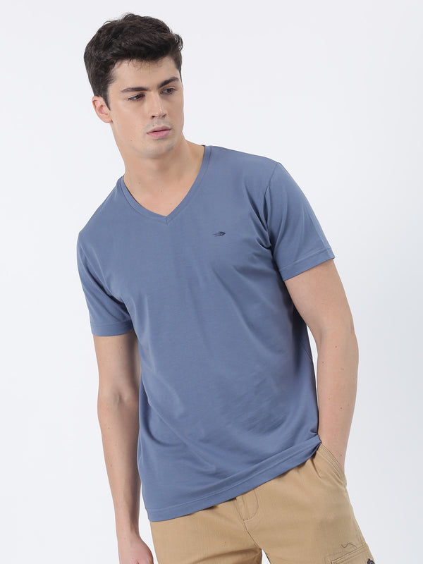 Slate Blue Plain Short Sleeve Casual T-Shirt