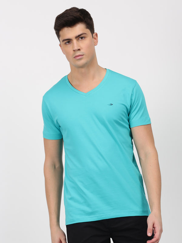 Teal Green Plain Short Sleeve Casual T-Shirt