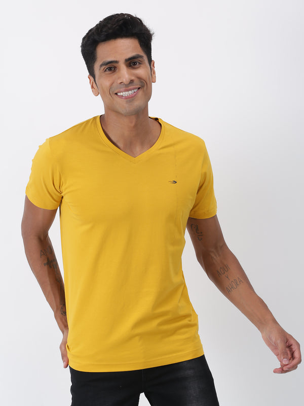 Gold Plain Short Sleeve Casual T-Shirt