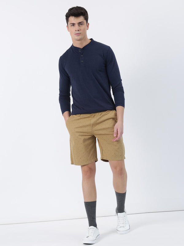 Navy Melange Plain Long Sleeve Casual T-Shirt
